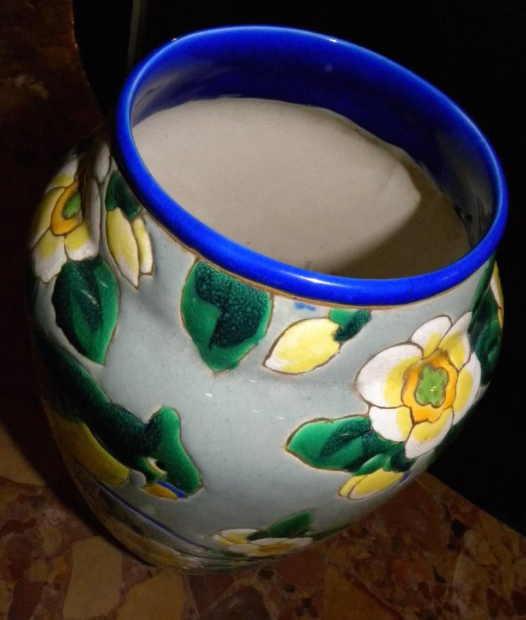 Belgian Boch Catteau Era Ceramic Vase with Bird For Sale