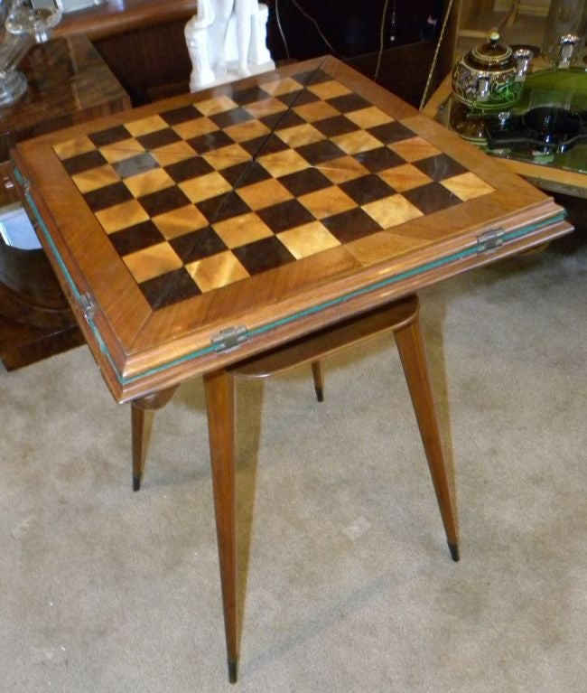 Great Looking Game/card Table. The Top Is All Inlaid With Contrasting Woods  And