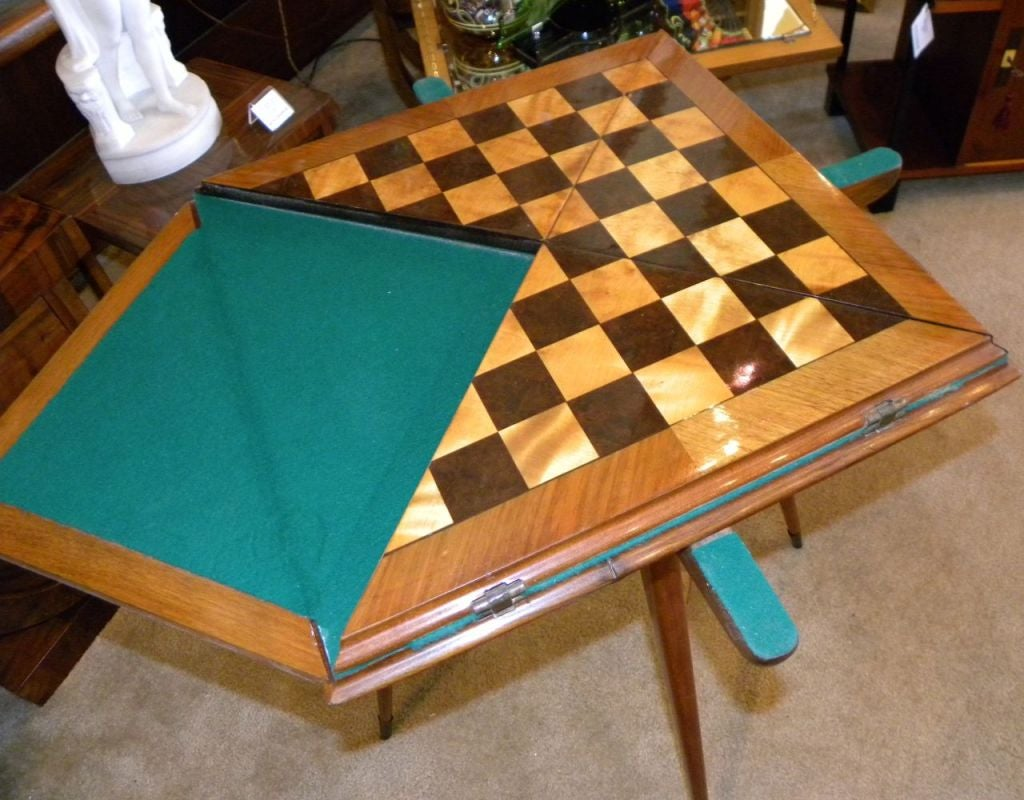 Gentil Mid 20th Century Fabulous Art Deco Game And Card Table Combo For Sale
