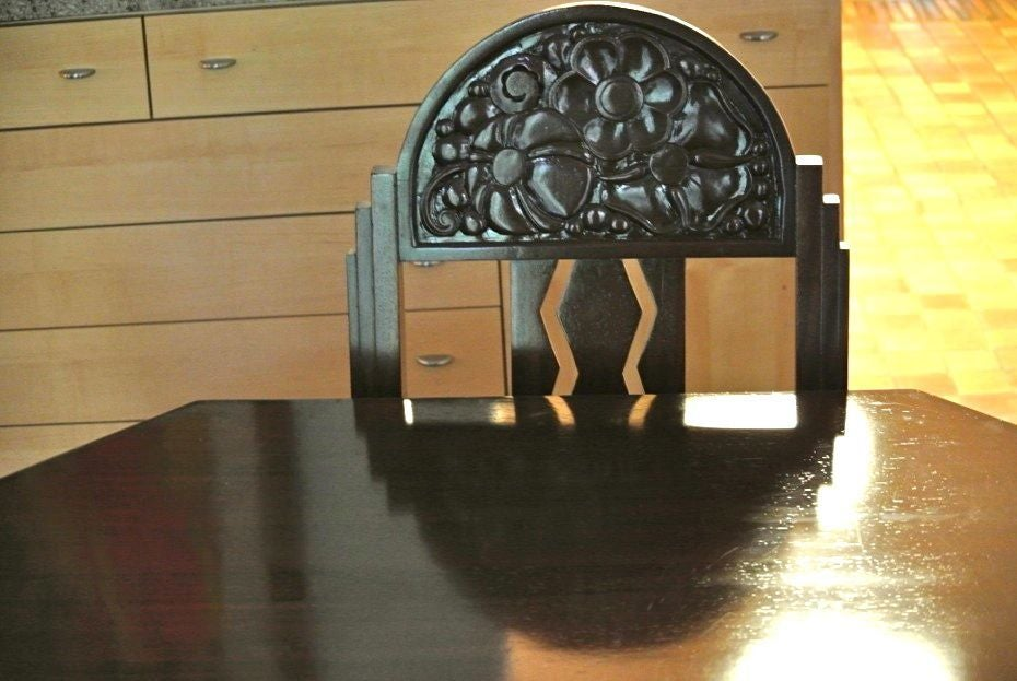 Unique Art Deco French Carved Dining Table with Chairs For Sale 5