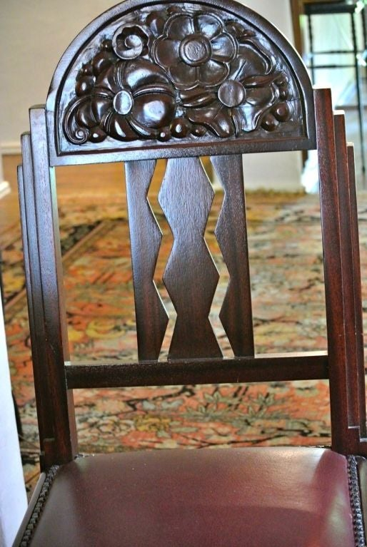 Unique Art Deco French Carved Dining Table with Chairs For Sale 1
