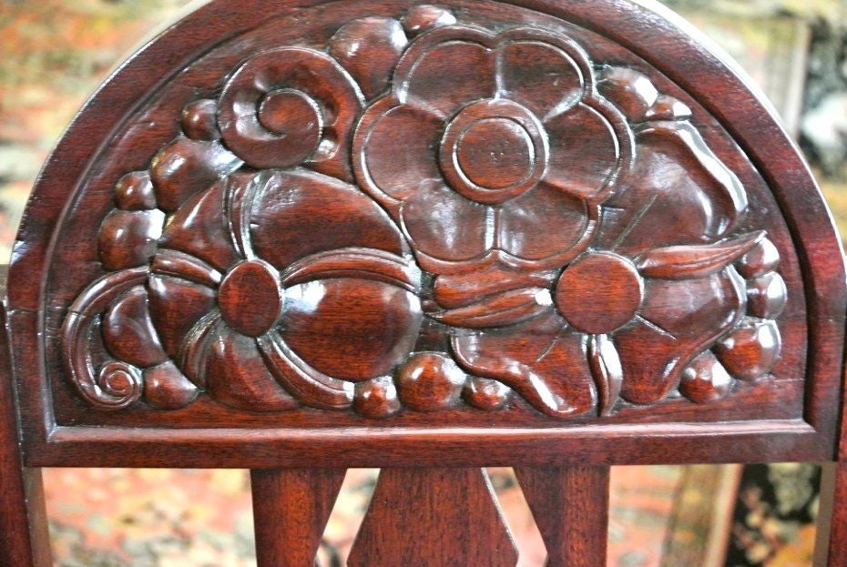 Unique Art Deco French Carved Dining Table with Chairs For Sale 3