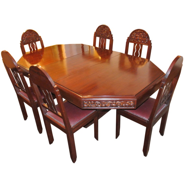 Unique Art Deco French Carved Dining Table With Chairs For