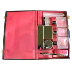Elegant His/Her Travel Vanity Set Luggage in Leather