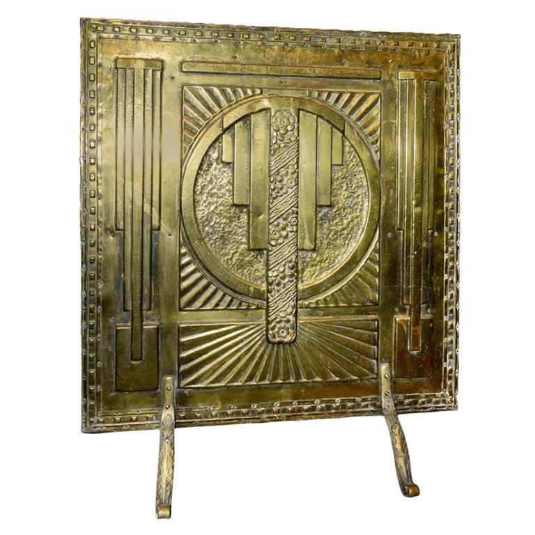 Art Deco Fireplace Brass Screen With 3d Modernist Design At 1stdibs