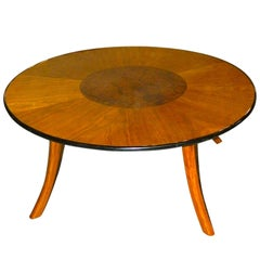 Great Art Deco Custom-Design Round Coffee Table with Multi Woods