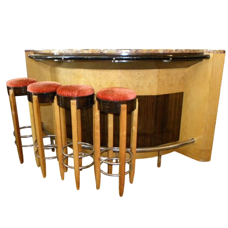 Spectacular French Art Deco Bar Stand Behind With Stools
