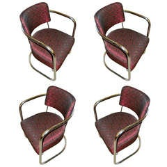 Four Streamline American Art Deco Cocktail Chairs