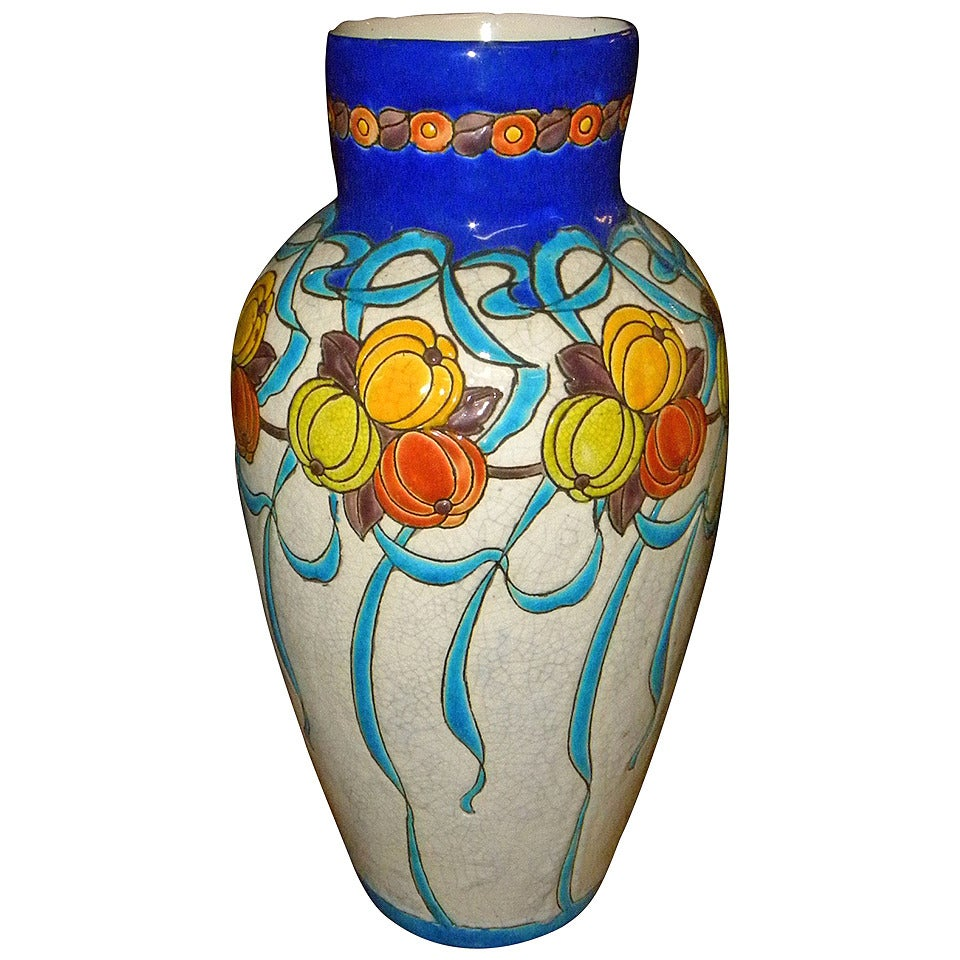 Large Charles Catteau Boch Ceramic Vase