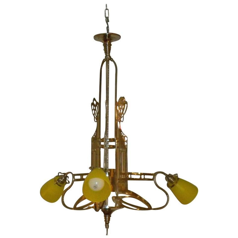 Art Nouveau Jugendstil Chandelier With Schneider Glass At