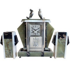 French Art Deco 3 Piece Pendulum Clock with Doves