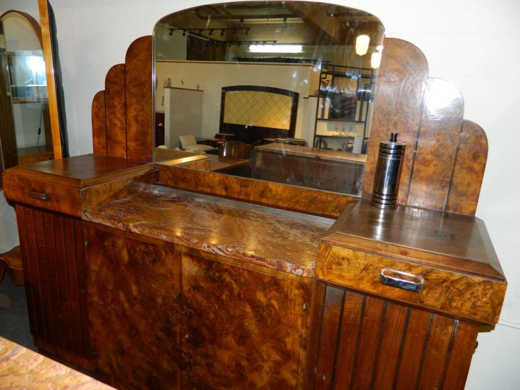 Marble Stunning French Art Deco Buffet with Matching Mirror 1930's For Sale