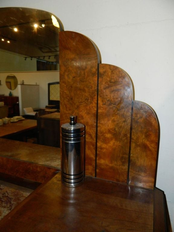 Mid-20th Century Stunning French Art Deco Buffet with Matching Mirror 1930's For Sale