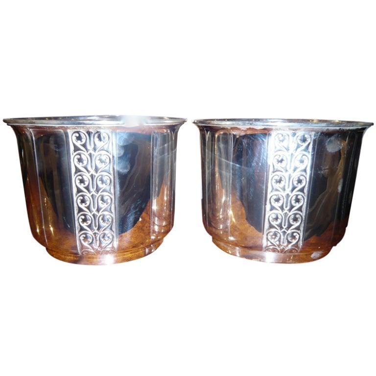 Pair of Art Deco Silver Plate Jardinières