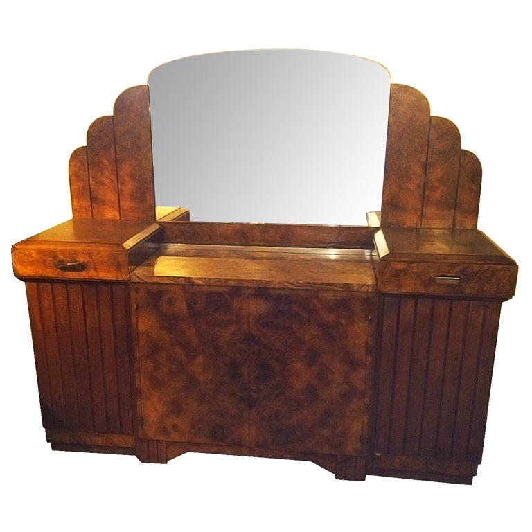 stunning french art deco buffet with matching mirror 1930. Black Bedroom Furniture Sets. Home Design Ideas