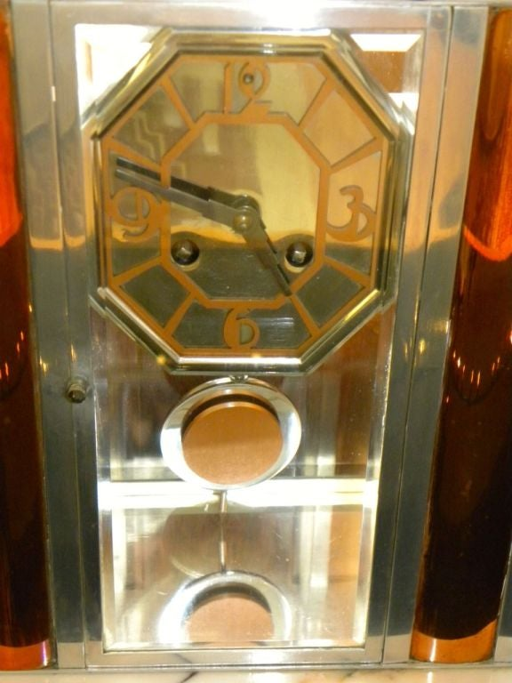 Spectacular French Art Deco Modernist Pendulum Clock At