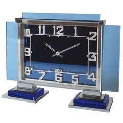 French Blue Glass & Chrome Jaz Art Deco Clock