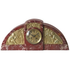 Important French Art Deco Marble Clock with Gilt Bronze Details