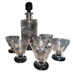 French Art Deco Etched Glass Decanter Cocktail Set