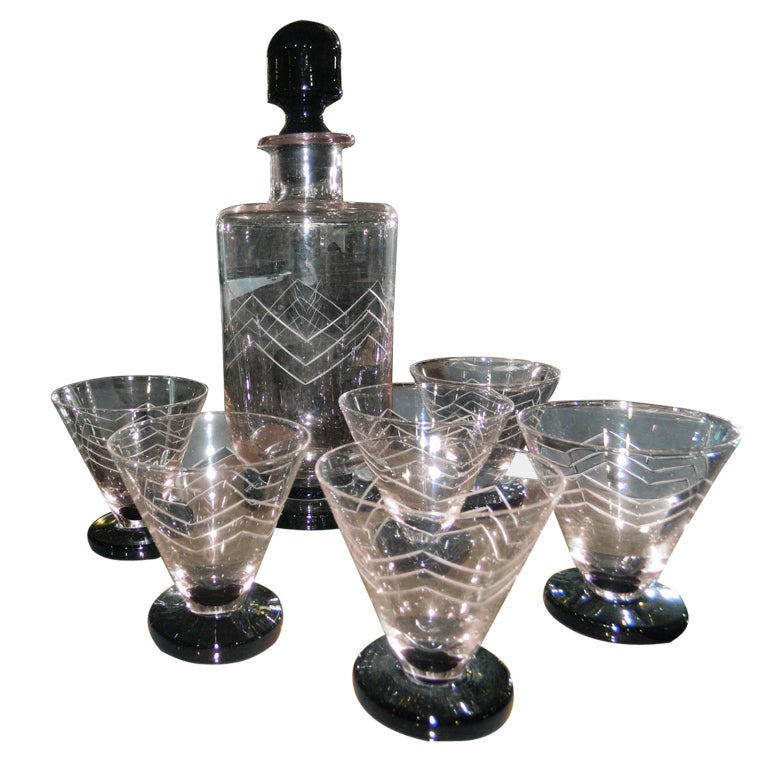 Unusual french art deco etched glass decanter cocktail set at 1stdibs - Deco glace ...
