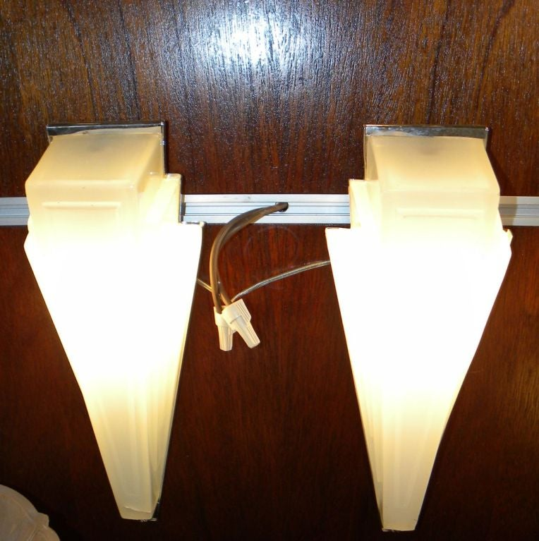 Art Deco Lighting Sconces Stepped Opaque Glass at 1stdibs