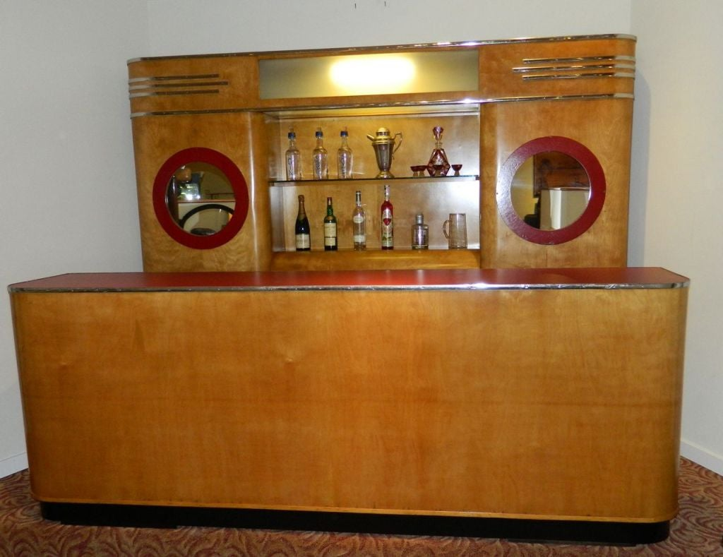 Art deco custom bar original with backbar for sale at 1stdibs Home bar furniture seattle