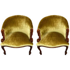 Unusual French Carved Wood Art Deco Armchairs