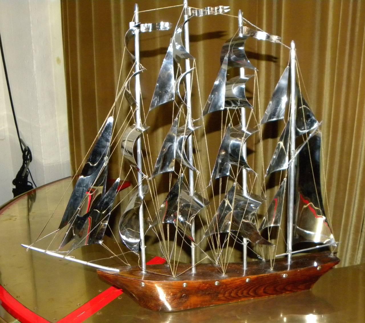 Large Art Deco Wood and Metal Sail Boat Schooner For Sale 4
