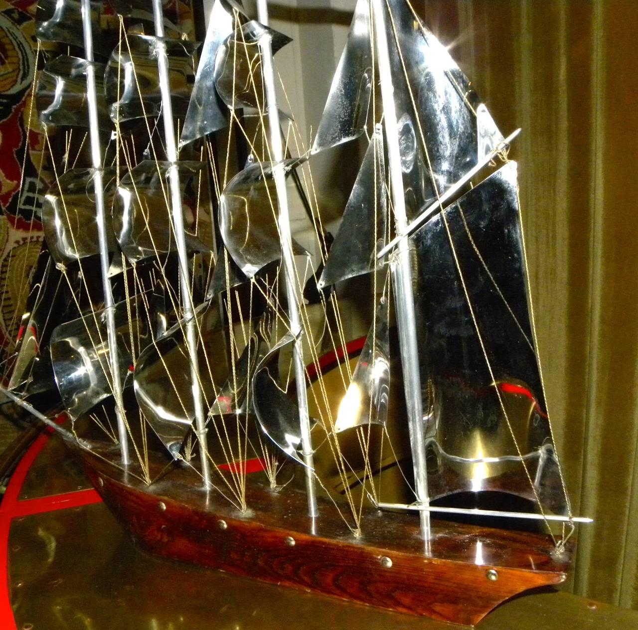 Large Art Deco Wood and Metal Sail Boat Schooner For Sale 3