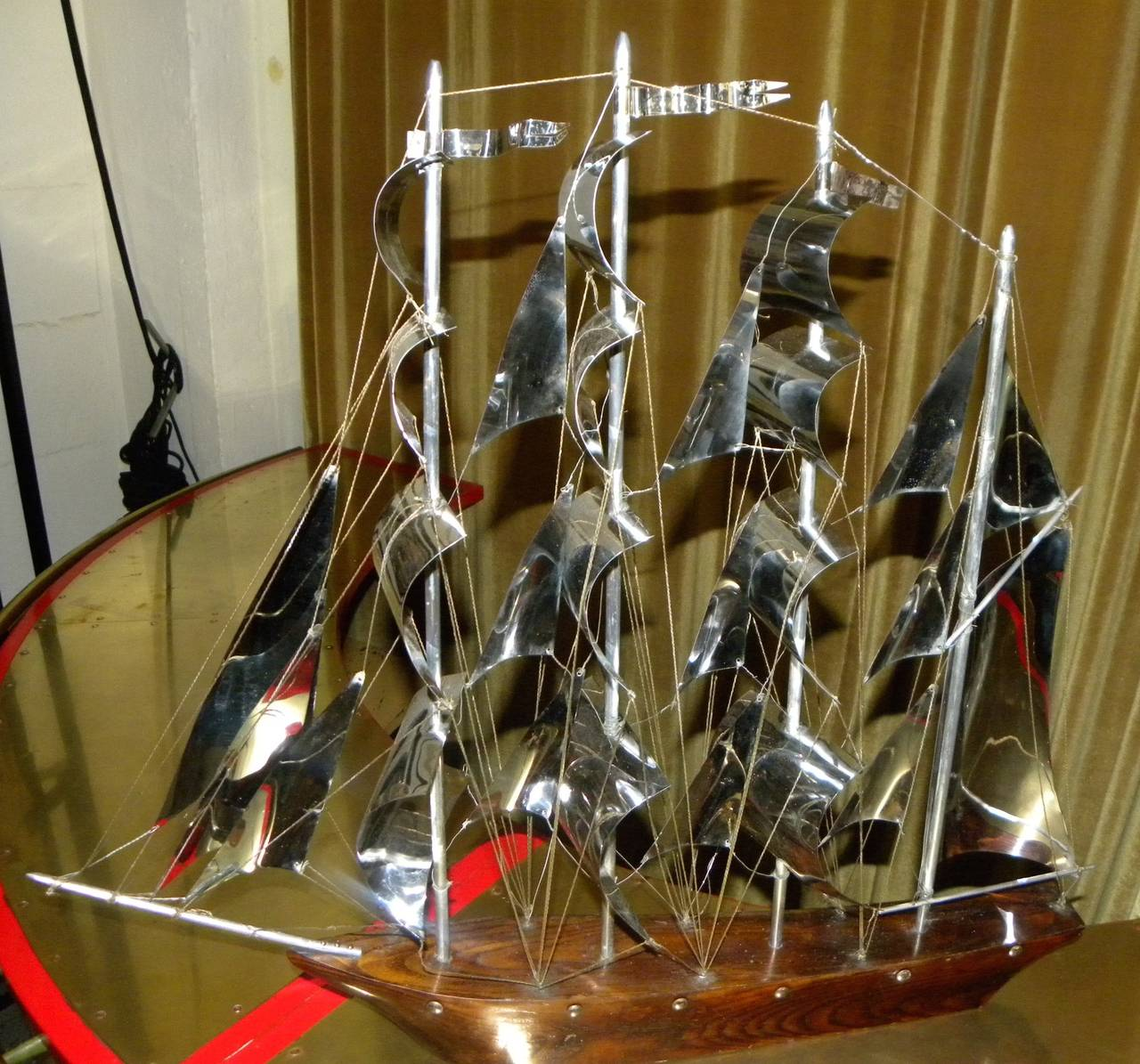 Large Art Deco Wood and Metal Sail Boat Schooner For Sale 2