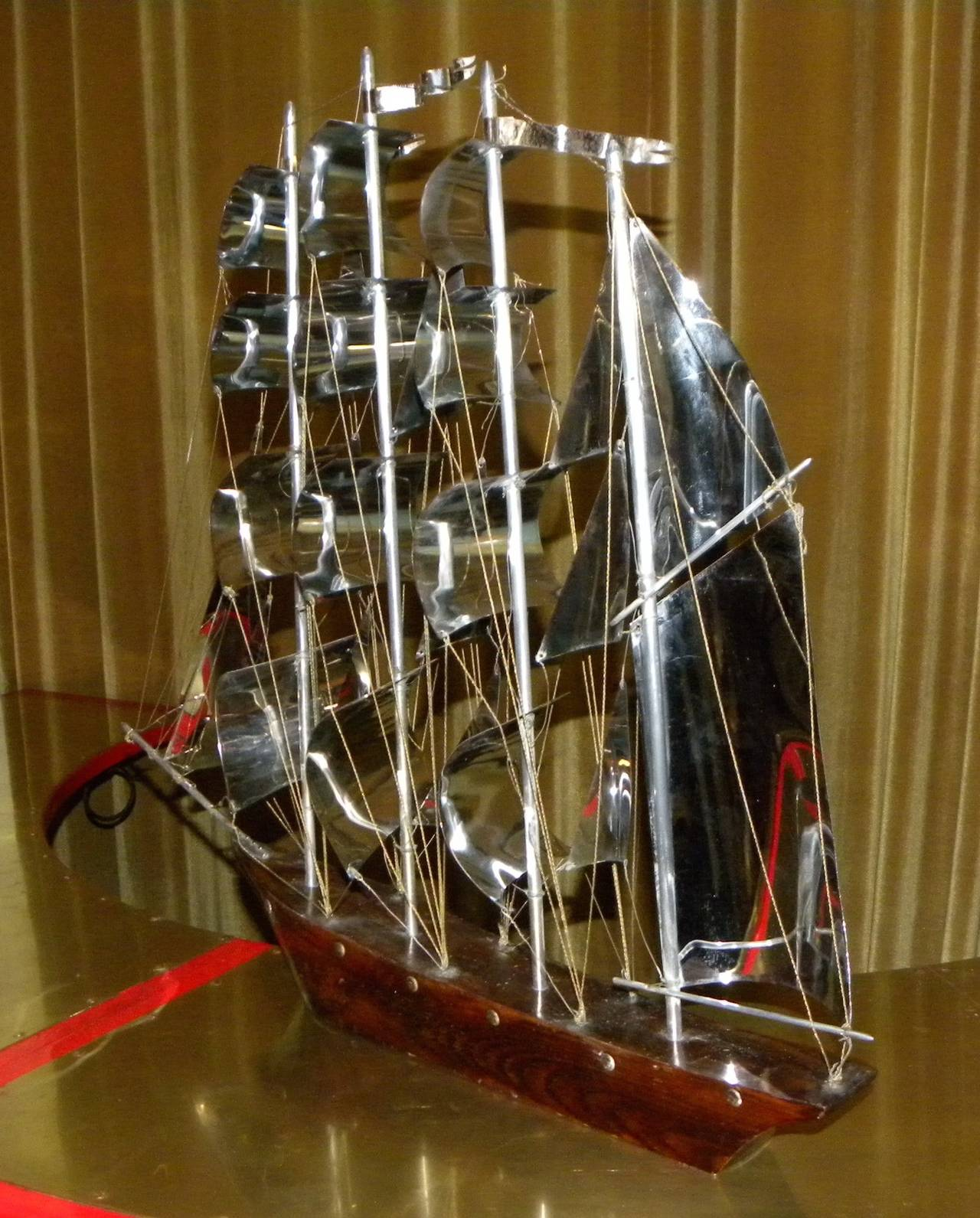 Large Art Deco Wood and Metal Sail Boat Schooner In Excellent Condition For Sale In Oakland, CA