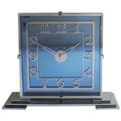 Fabulous Art Deco Cobalt Blue Clock English Moderne Circa 1930's