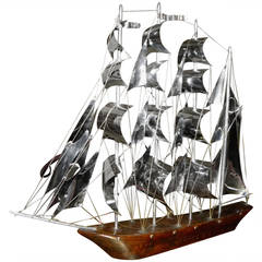 Large Art Deco Wood and Metal Sail Boat Schooner