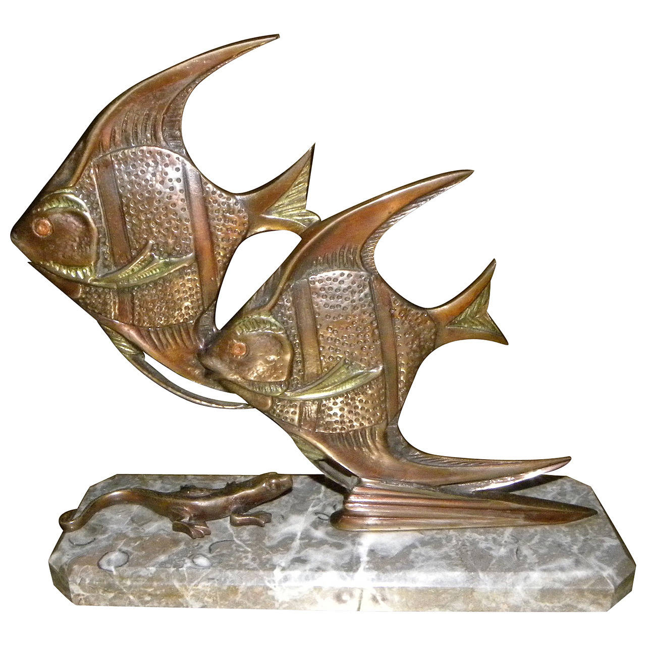 bronze art deco angel fish statue with gecko at 1stdibs. Black Bedroom Furniture Sets. Home Design Ideas