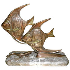 Bronze Art Deco Angel Fish Statue with Gecko