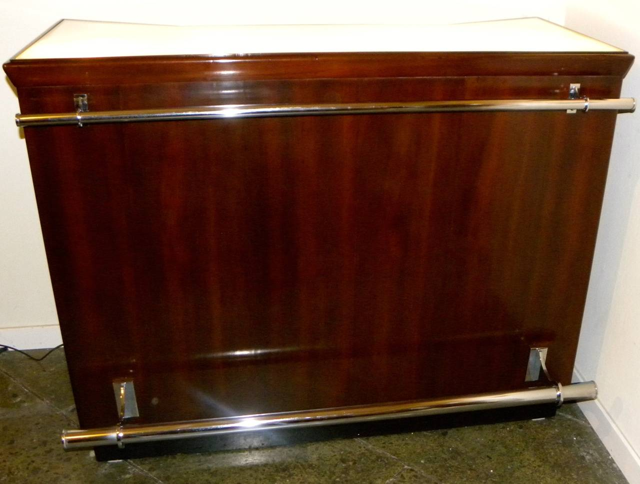dramatic art deco bar with light up top for sale at 1stdibs. Black Bedroom Furniture Sets. Home Design Ideas