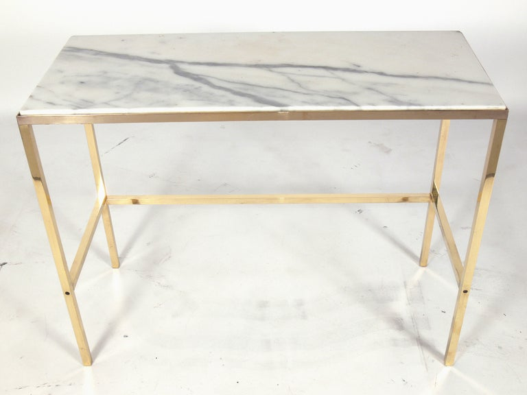 brass and marble console table or desk after paul mccobb