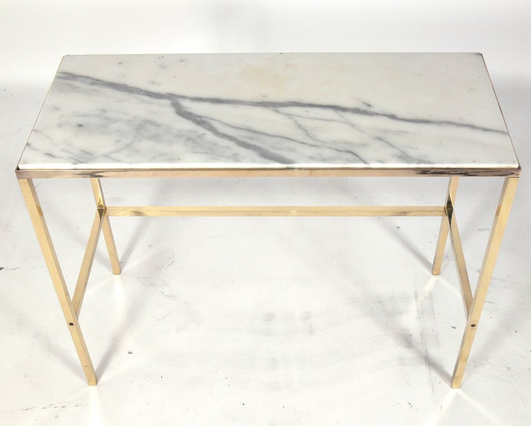 Brass and Marble Console Table or Desk after Paul McCobb 4