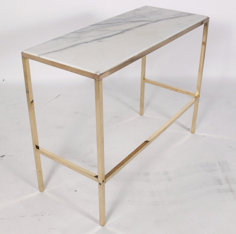 Marble Console Table : Brass and Marble Console Table or Desk after Paul McCobb at 1stdibs