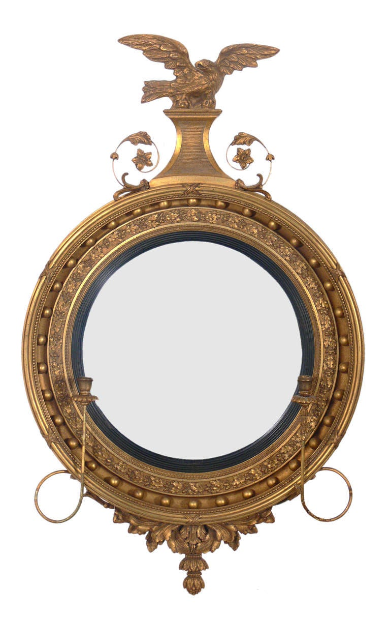 Gilt convex mirror with eagle crest at 1stdibs for What is a gilt mirror