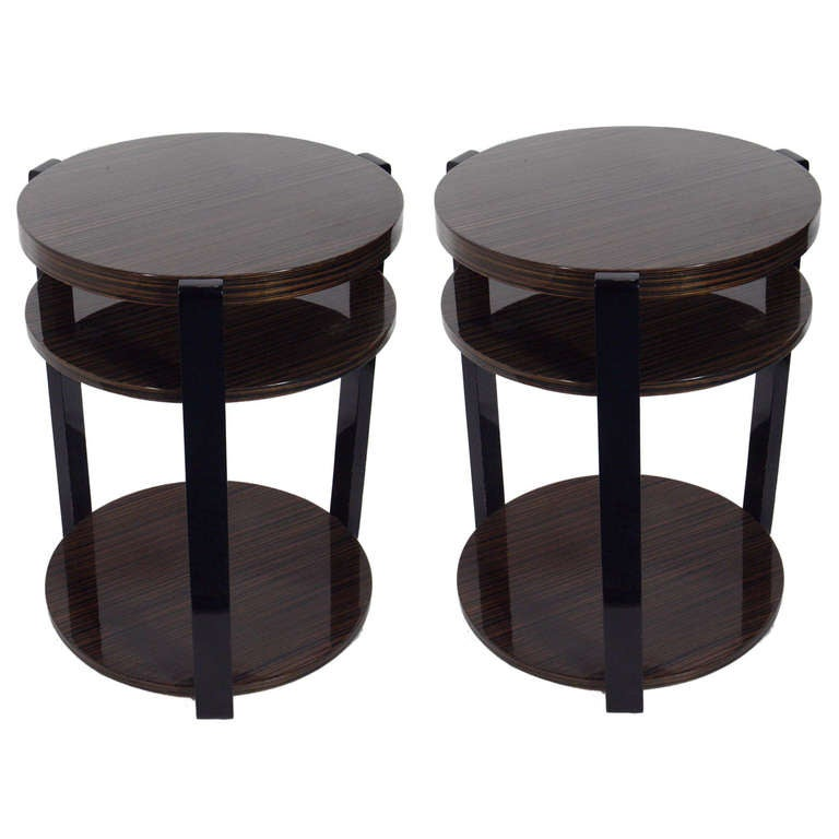 Pair Of Exotic Wood Round End Tables For Sale At 1stdibs