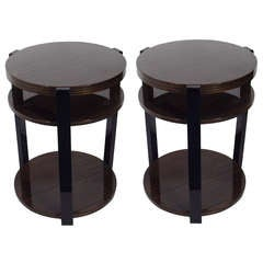 Pair of Exotic Wood Round End Tables