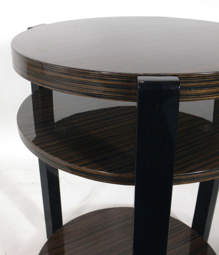 Pair Of Exotic Wood Round End Tables At 1stdibs