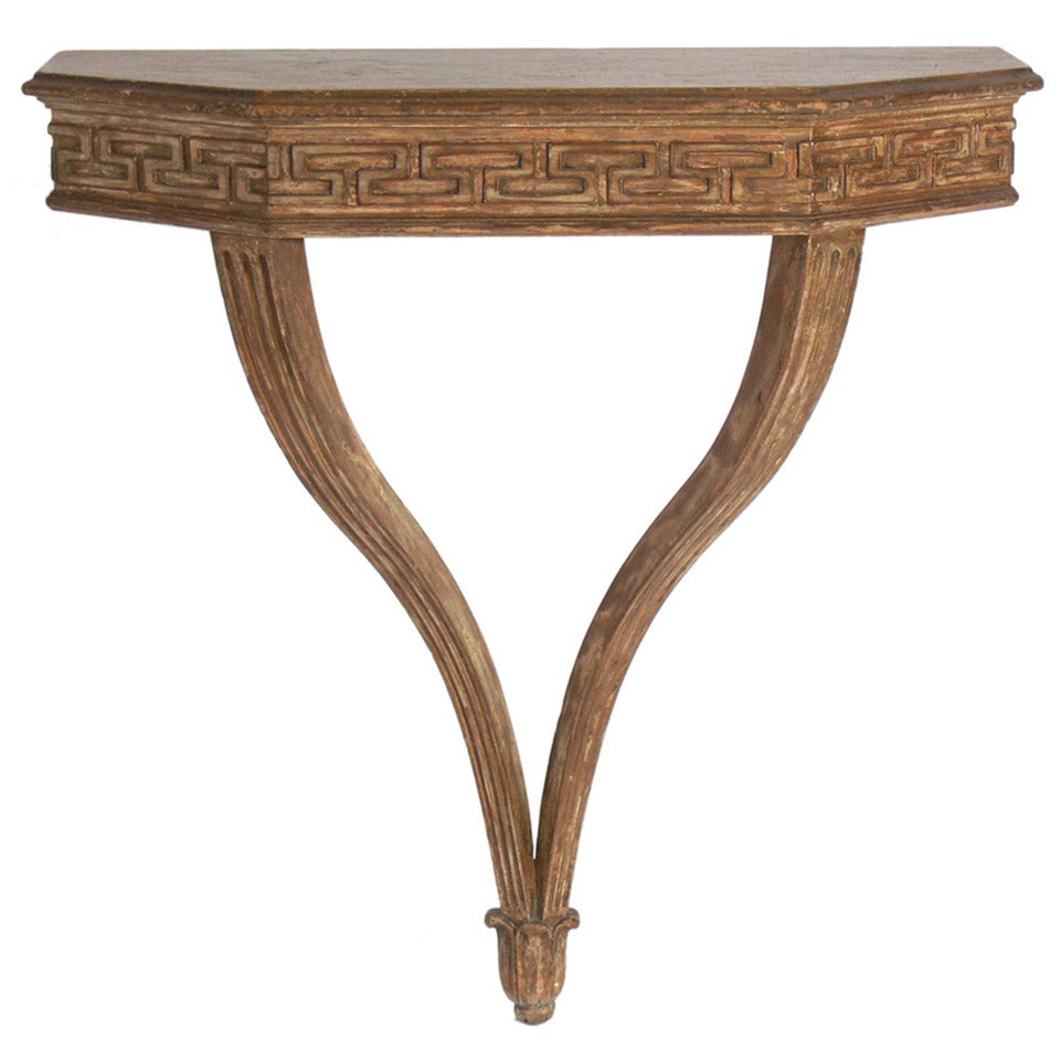 wallmounted greek key console table at stdibs - wallmounted greek key console table