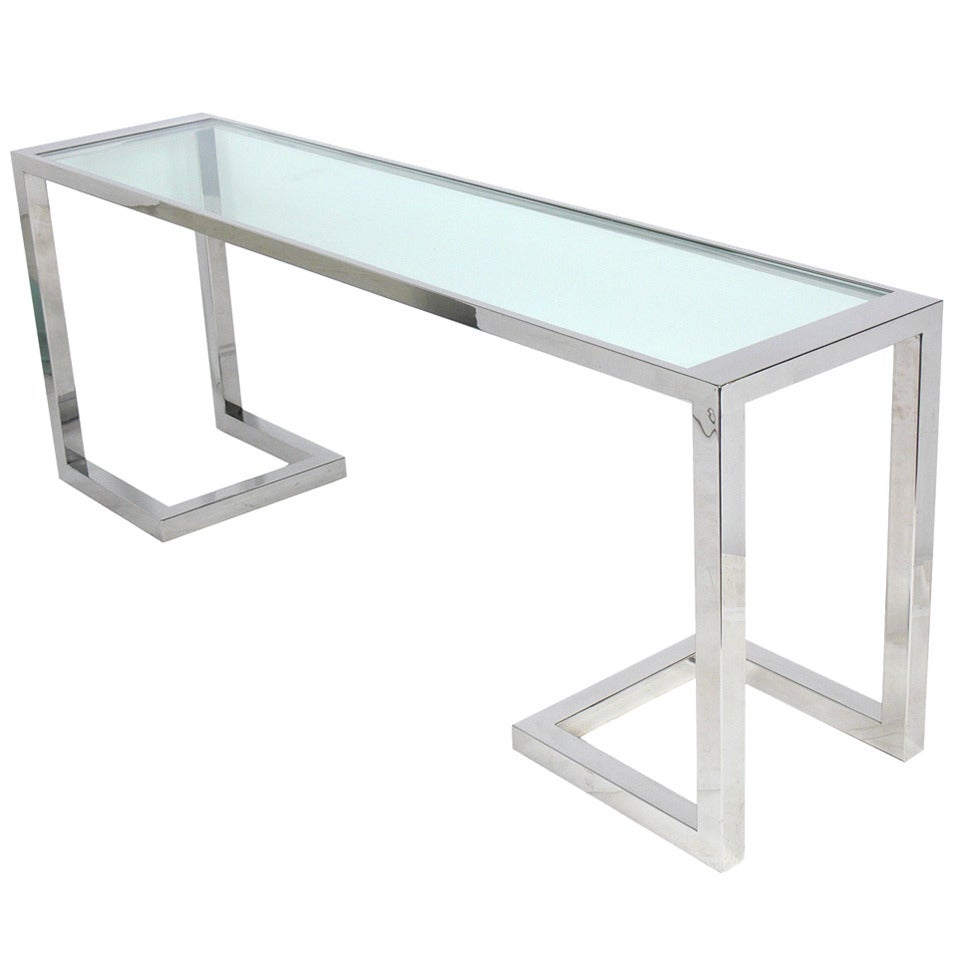 Large scale chrome and glass console table or desk at 1stdibs for Sofa table large