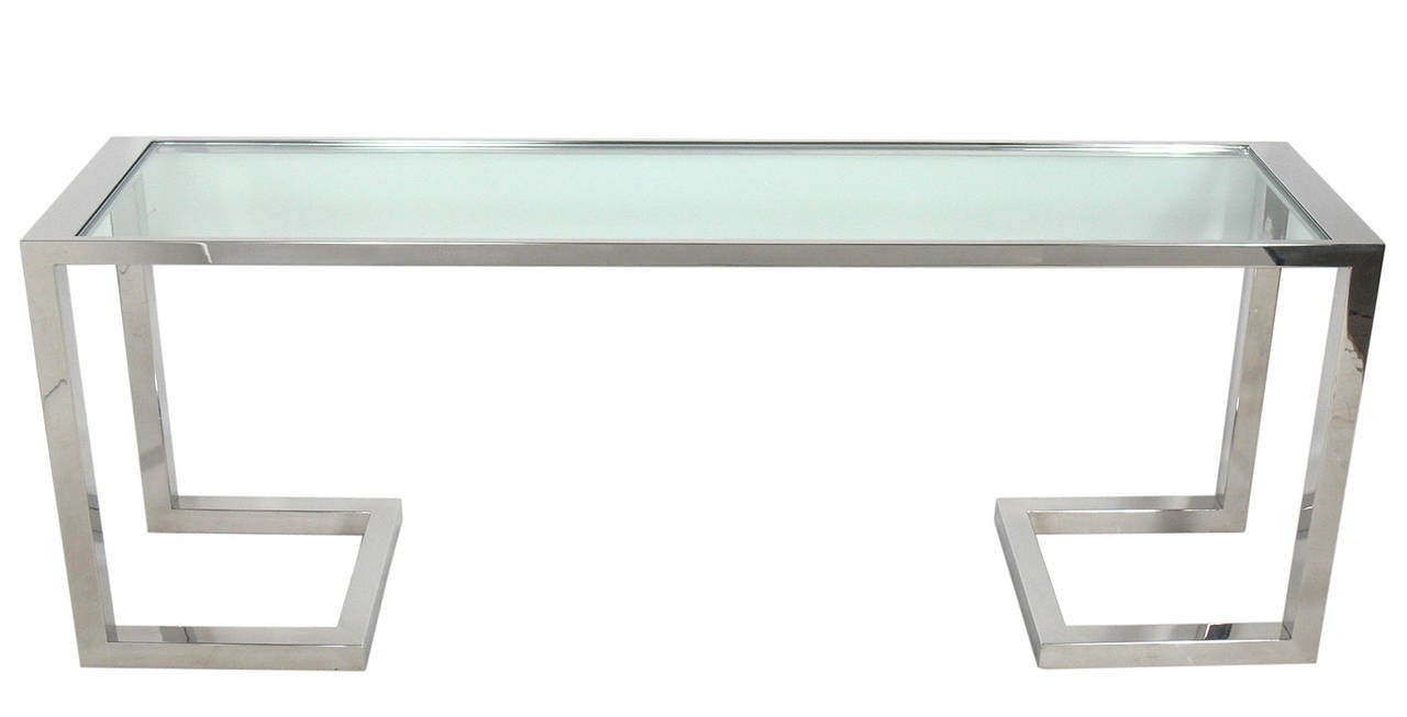 large scale chrome and glass console table or desk at stdibs - large scale chrome and glass console table or desk