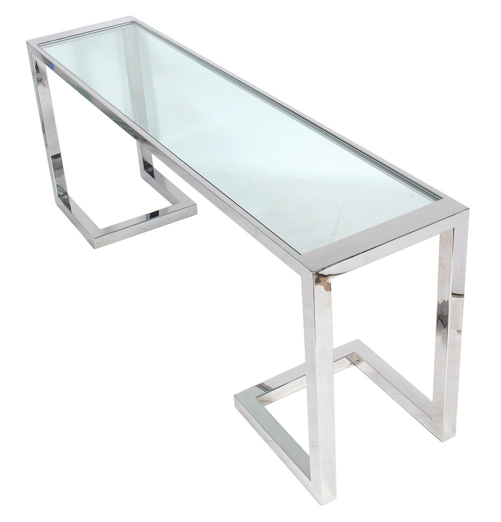 Large Scale Chrome And Glass Console Table Or Desk At 1stdibs