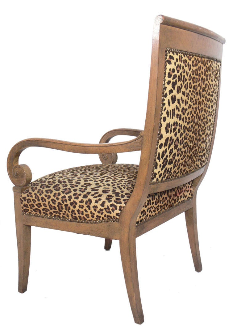 Curvaceous Armchair in Original Leopard Upholstery In Good Condition For Sale In Atlanta, GA