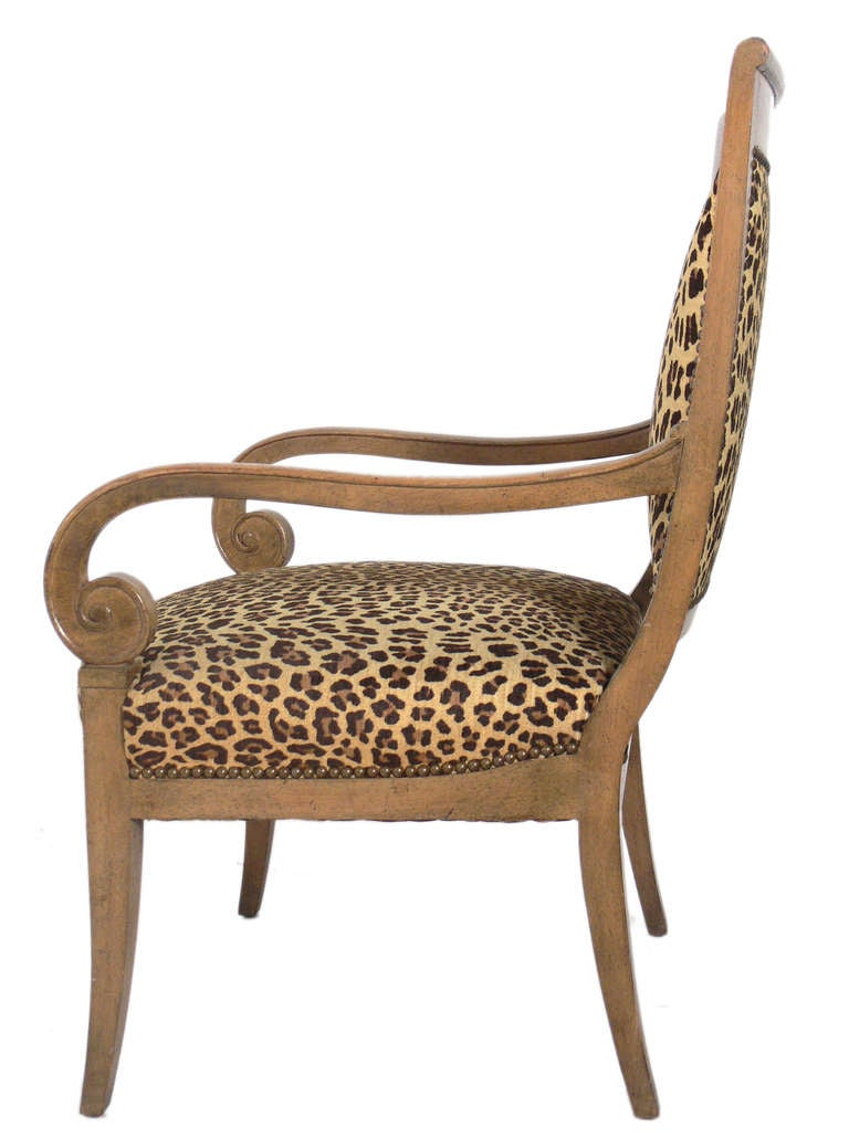 American Curvaceous Armchair in Original Leopard Upholstery For Sale