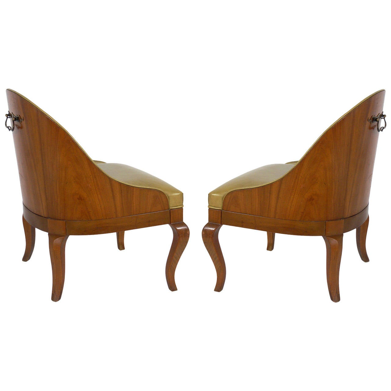 Pair of Curvaceous Walnut Slipper Chairs with Brass Handles
